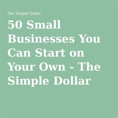 [click]50 Small Businesses You Can Start On Your Own - Tsd
